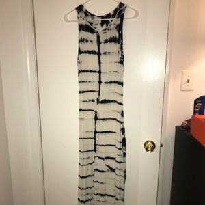 Black and white cotton long summer dress